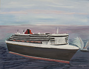 Queen Mary Painting Originals - Queen Mary in Port Ft Lauderdale by Marcel Quesnel