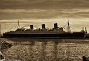 Rms Queen Mary Framed Prints - Queen Mary in Sepia Framed Print by Tommy Anderson