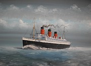 Liner Painting Originals - Queen Mary by James McGuinness