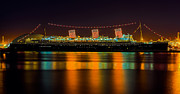 Ocean Liner Framed Prints - Queen Mary - Nightside Framed Print by Jim Carrell