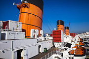 Liner Photos - Queen Mary Smoke Stacks by Garry Gay