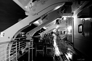 Luxury Liner Prints - Queen Mary Sun Deck Black And White Print by Heidi Smith