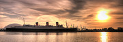 Queen Photos - Queen Mary Sunset Panorama by Eddie Yerkish
