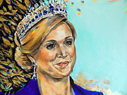 Netherlands Paintings - Queen Maxima of The Netherlands by Lucia Hoogervorst