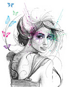 Beautiful Woman Mixed Media Prints - Queen of Butterflies Print by Olga Shvartsur