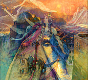 Blending Mixed Media Prints - Queen Of Chronos Print by Tammera Malicki-Wong