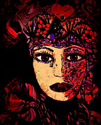 Spiritual Portrait Of Woman Mixed Media Metal Prints - Queen Of Hearts Metal Print by Natalie Holland