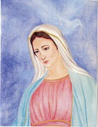 Virgin Mary Pastels Posters - Queen of Peace Poster by Darcie Cristello