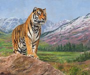 Tiger Painting Posters - Queen of Siberia Poster by David Stribbling