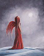 Dark Red Paintings - Queen Of The Winter Nights by Shawna Erback by Shawna Erback