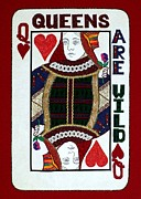 Hearts Tapestries - Textiles Posters - Queens Are Wild Poster by Jean Baardsen