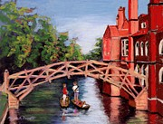 College Pastels Prints - Queens College Bridge Cambridge Print by Marion Derrett