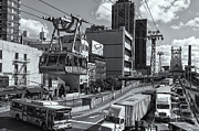 Aerial Tramway Posters - Queensboro Bridge Traffic II Poster by Clarence Holmes