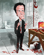 Reservoir Dogs Digital Art - Quentin Tarantino Caricature by G Patrick Teran