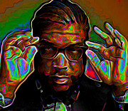 Purple Digital Art Originals - Questlove by Byron Fli Walker