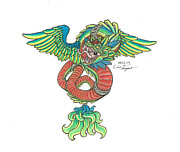 Thunder Drawings - Quetzacoatl by Eric Vargas