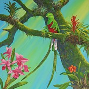 Bromeliad Painting Posters - Quetzal Poster by Bonnie Golden