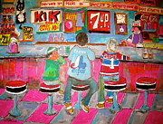 Checkerboard Floor Paintings - Quick Deli 2 by Michael Litvack