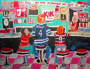 Checkerboard Floor Paintings - Quick Deli by Michael Litvack