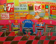 Checkerboard Floor Paintings - Quick Deli with Staff by Michael Litvack