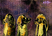 Golden Retriever Mixed Media - Quick Nobodys Looking by Miko Zen