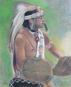 Native American Spirit Portrait Art - Quickfoot  by Terri Ana Stokes