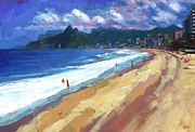 Acrylic On Canvas Originals - Quiet Day at Ipanema Beach by Douglas Simonson