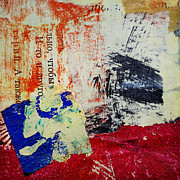 Acrylic Mixed Media Abstract Collage Prints - Quiet Day Vanished In Distance Print by Elena Nosyreva