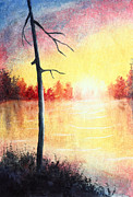 Peaceful Pond Paintings - Quiet Evening by the River by Nirdesha Munasinghe