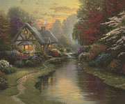 Cottage Framed Prints - Quiet Evening Framed Print by Thomas Kinkade