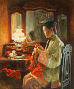 China Painting Framed Prints - Quiet evening Framed Print by Victoria Kharchenko