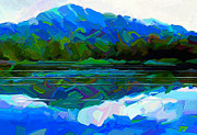 Pacific Northwest Painting Posters - Quiet Lakeside Poster by Dorinda K Skains