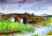 Bridge Painting Originals - Quiet Man Bridge Ireland by John D Benson