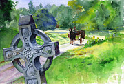 Cross Painting Originals - Quiet Man Watercolor 2 by John D Benson