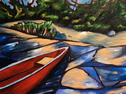Canoe Painting Posters - Quiet Retreat Poster by Erin Wildsmith