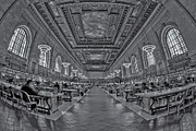 Rose Main Reading Room Prints - Quiet Room BW Print by Susan Candelario