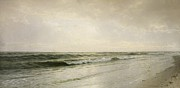 Gray Blue Posters - Quiet Seascape Poster by William Trost Richards