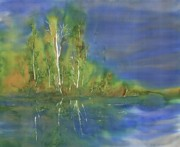 Birch Trees Tapestries - Textiles - Quiet Stream  by Carolyn Doe