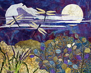 Fabric Collage Tapestries Textiles Posters - Quiet Summer Evening Poster by Lynda K Boardman