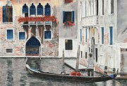 Balcony Pastels Posters - Quiet Venice Morning Poster by Angela Bruskotter