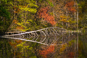Tennessee River Prints - Quiet Waters in Autumn Print by Debra and Dave Vanderlaan