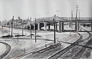Industrial Art Drawings Prints - Quiet West Oakland Train Tracks with Overpass and San Francisco  Print by Asha Carolyn Young