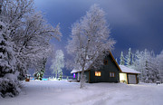 Snowy Night Art - Quiet Winter Times by Ron Day
