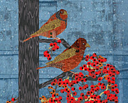 Fabric Mixed Media - Quilt Birds in Winter Rain by Kim Prowse