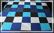 Old Tapestries - Textiles Metal Prints - Quilt Blue Blocks Metal Print by Barbara Griffin