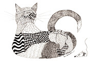 Quilt Drawings Posters - Quilt Cat and Checkers Poster by Lou Belcher