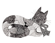 Quilt Drawings - Quilt Cat with Bow by Lou Belcher