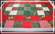 Blue Quilts Tapestries - Textiles Posters - Quilt Christmas Blocks Poster by Barbara Griffin