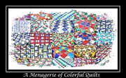 Colorful Quilts Posters - Quilt Collage Illustration Poster by Barbara Griffin