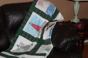 Block Quilts Tapestries - Textiles Posters - Quilt Newfoundland Tartan Green Posts Poster by Barbara Griffin
